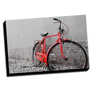 Red Bike Color Splash Printed Framed Canvas