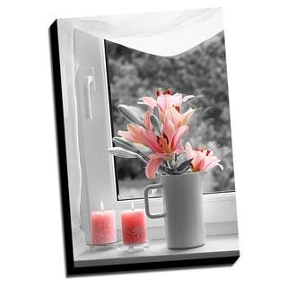 Lillies Color Splash Printed Framed Canvas