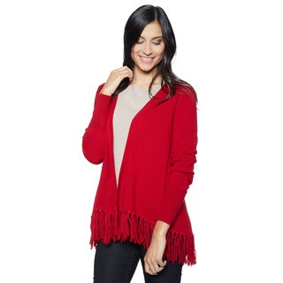 Ply Cashmere Women's Open Front Fringe Cashmere Cardigan
