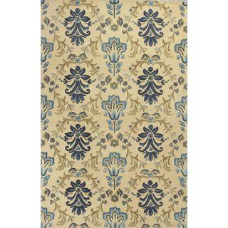 Emerald 9032 and Ivory Damask Floral Rug (5'6)