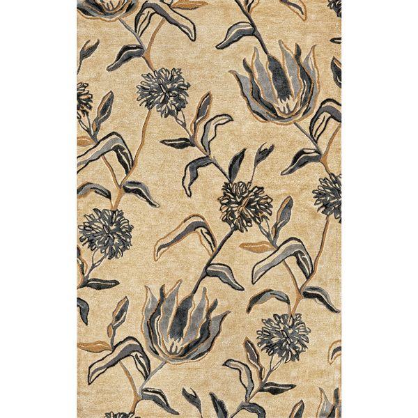 KAS Florence 4576 Ivory/Blue Wildflowers Wool/Viscose/Cotton Rug - multi - 5' x 5'
