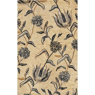KAS Florence 4576 Ivory/Blue Wildflowers Wool/Viscose/Cotton Rug (5' x 5' Round)