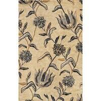 KAS Florence 4576 Ivory/Blue Wildflowers Wool/Viscose/Cotton Rug (5' x 5' Round)