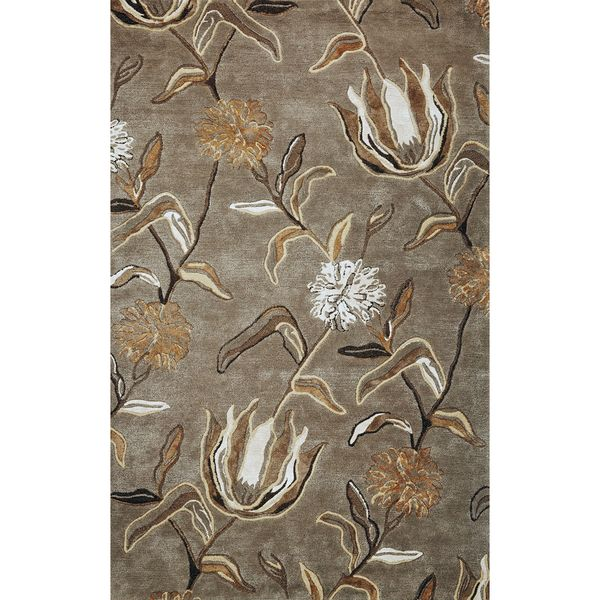 Florence Silver Hand-tuffted Cotton Viscose and Wool Wildflowers Round Rug - 5' x 5'