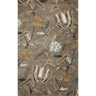 Florence Silver Hand-tuffted Cotton Viscose and Wool Wildflowers Round Rug