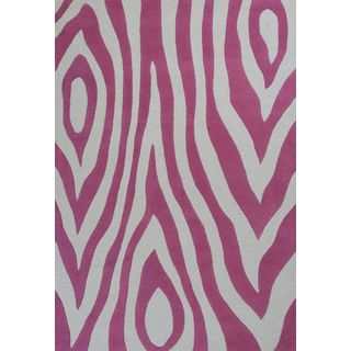 KAS Kidding Around 0438 Pink Wild Side Wool/Cotton Rug (7'6 x 9'6)