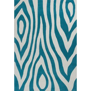 KAS Kidding Around 0439 Teal/Beige Wool/Cotton Wild Side Rug (7'6 x 9'6)