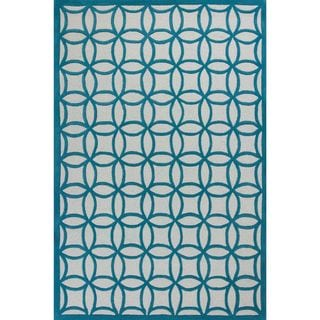 KAS Kidding Around 0440 Teal Kaleidoscope Wool/Cotton Round Rug (3' diameter)