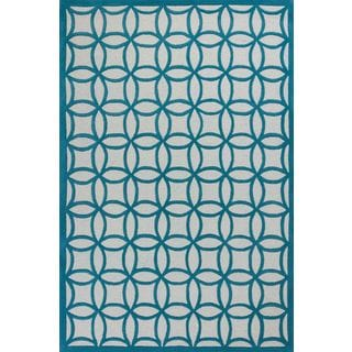 Kidding Around Teal Wool and Cotton Kaleidoscope Rug (5' x 7'6)