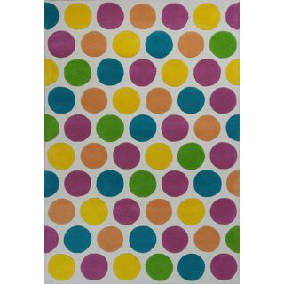 Kidding Around 0441 Chic Lotsa Dots Multicolored Cotton and Wool Rug (7'6 x 9'6)