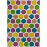 "Kidding Around Chic Lotsa Dots Multicolored Cotton and Wool Rug - 7'6"" x 9'6"""