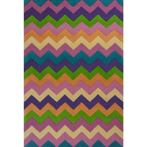 KAS Kidding Around 0443 Multicolored Zigzag Wool/Cotton Rug - multi - 3'