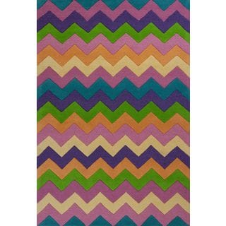 KAS Kidding Around 0443 Multicolored Zigzag Wool/Cotton Rug (3' Round)