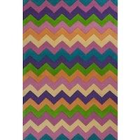 KAS Kidding Around 0443 Multicolored Zigzag Wool/Cotton Rug (3' Round)