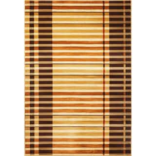 KAS Lifestyles 5475 Earthtone Polypropylene Striped Rug (7'10 Round)