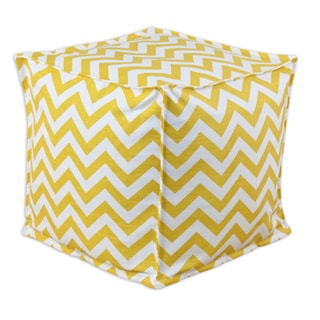 Yellow Chevron Square 12.5-inch Footstool