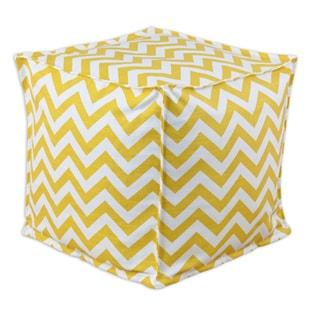 Yellow Chevron Square 12.5-inch Footstool