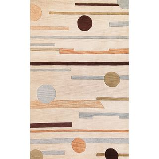 Milan Horizons Beige/Green Cotton/Polyacrylic Round Rug (5'6)