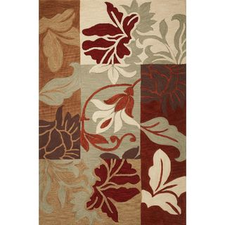 Milan 2131 Sage Damask Views Round Rug (5'6 Round)