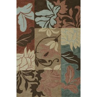 Milan 2141 Taupe Damask Views Round Rug (5'6 Round)