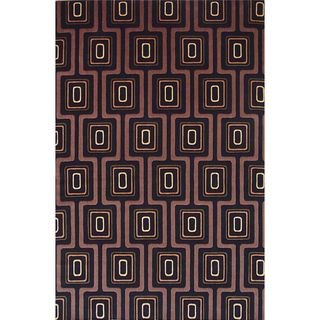 Tate 8510 Black City Grid Round Rug (5'6 Round)