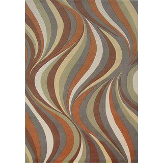 Tate 8515 Earthtone Waves Round Rug (5'6 Round)