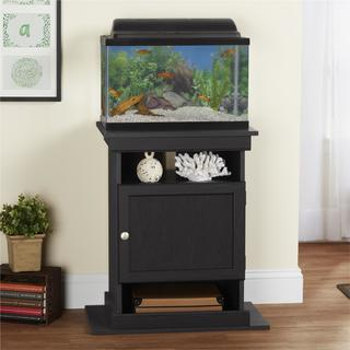 Ameriwood Home Flipper Midnight Onyx Laminate/Brushed Nickel Metal 10/20-gallon Aquarium Stand