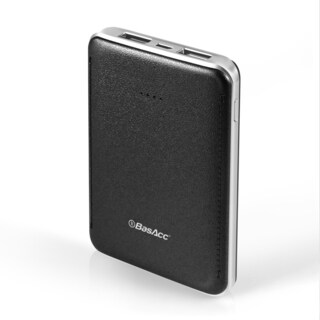 BasAcc 6000mAh Black/ Silver Frame Leather-like Design Slim 2-port USB Power Bank with LED Battery Capacity Indicator