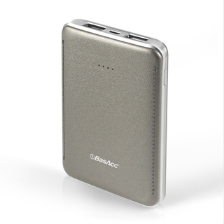 BasAcc 6000mAh Grey Leather-like Design Slim 2-port USB Power Bank with LED Battery Capacity Indicator