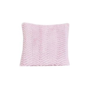 Cotton Tale Pink Faux Fur Chevron Decorative Throw Pillow