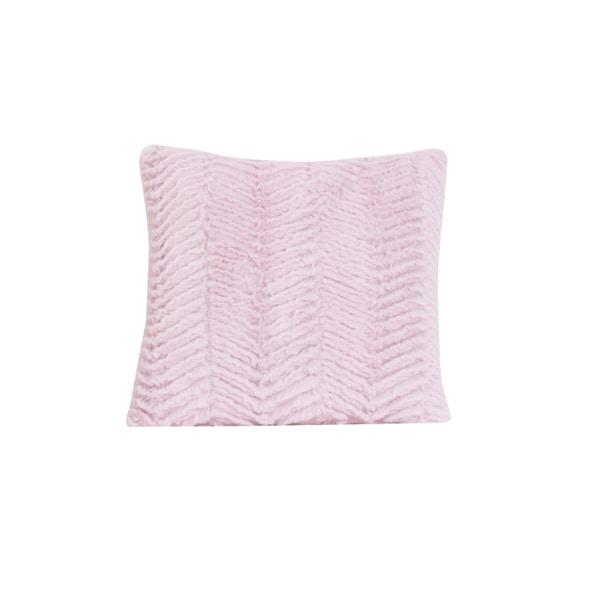 Cotton Tale Pink Faux Fur Chevron Decorative Throw Pillow