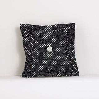 Cotton Tale Black Cotton Dotted Throw Pillow
