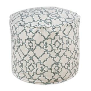 Windsor Capri Blue/Cream Cotton 12.5-inch Round Corded Hassock Ottoman