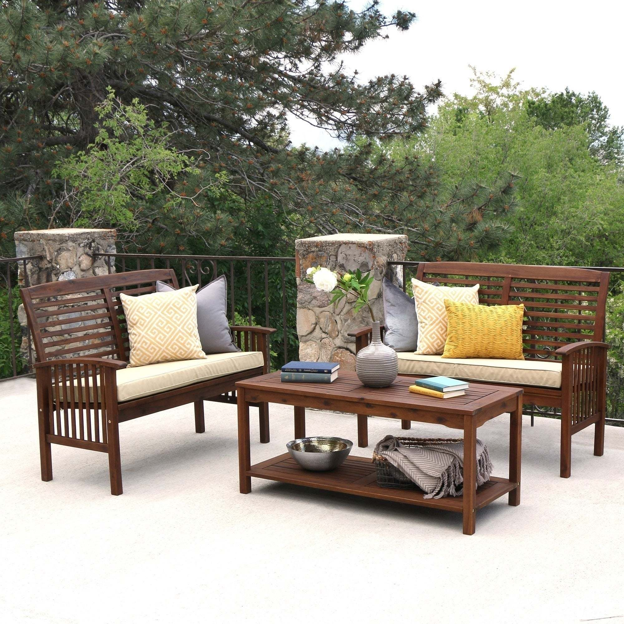 3-Piece Dark Brown Acacia Patio Conversation Set, Size 3-...