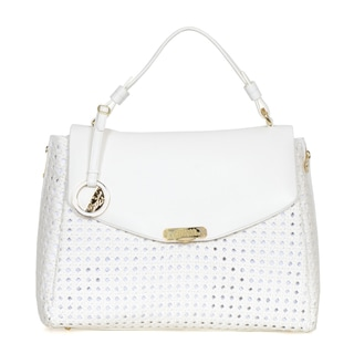 Versace Collection Perforated and Woven Leather Satchel
