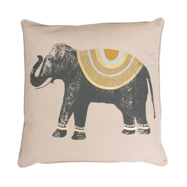 Ezra Elephant Feather-filled Throw Pillow