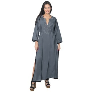 La Leela Women's Grey Rayon 2-in-1 Swimwear Soft Bikini Regular Size Cover-up Beach Swimsuit Short Dress