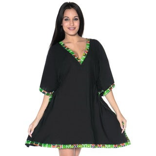 La Leela Women's Black Rayon Plus-size 2-in-1 Combination Short Dress and Coverup Kaftan