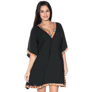 La Leela Bikini Cover up Dress Swimsuit Rayon Plus Plain Beachwear Bikini Coverup Kaftan Orange