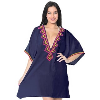 La Leela Swimwear SOFT Rayon Bikini Cover up Beach Swimsuit Women Dress Navy