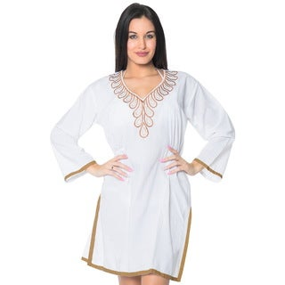 La Leela Women's Short White Rayon 2-in-1 Embroidered-neck Swimsuit Coverup Dress/Kimono
