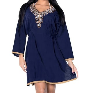 La Leela Gentle Rayon Embroidered Neck Women Bikini Cover up Kimono Dress Blue