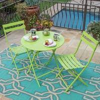 Corvus Eta Green Metal 3-piece Folding Patio Dining Set