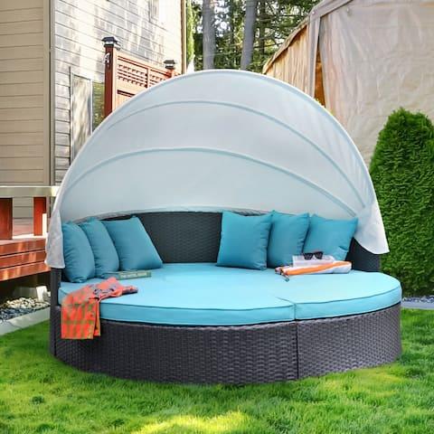 Furniture of America Jeto Brown 4-piece Outdoor Canopy Sofa Set