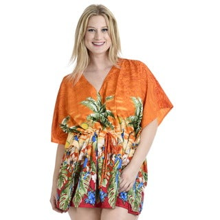 La Leela SMOOTH Likre Beach Bikini Cover up Kaftan Dress Women Tunic Cap Orange