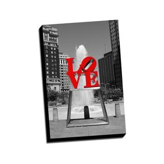 Love Park Color Splash Printed Framed Canvas