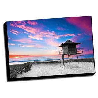 Beach Sunset Color Splash Printed Framed Canvas