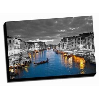 Wide Canal Color Splash Printed Framed Canvas