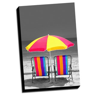 Two Chairs Color Splash Printed Framed Canvas