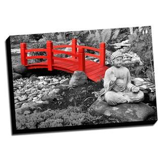 Red Bridge Color Splash Printed Framed Canvas